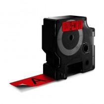 D1-Schriftband, 24mm x 7m, schwarz auf rot