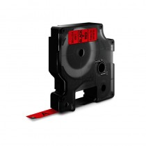 D1-Schriftband, 9mm x 7m, schwarz auf rot