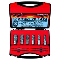 Kernlochbohrer-Set 10-teilig, Schnitttiefe 25 mm - Weldon 19 mm