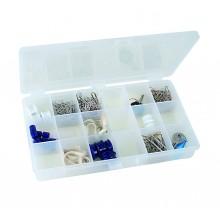 Sortimentskasten mit 18 festen Einteilungen, schwarz/transparent