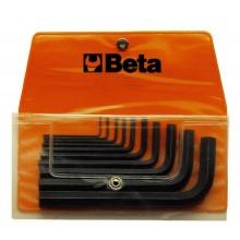Sechskant-Stiftschlüsselsatz, 10teilig, gebogen (Art. 96N), in Tasche