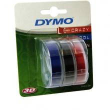 3D-Prägeband 3er-Blister, 9mm x 3m, glänzend rot, blau, schwarz